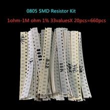 0805 SMD Widerstand Kit Assorted Kit 1ohm-1M ohm 1% 33valuesX 20 stücke = 660 stücke Probe Kit