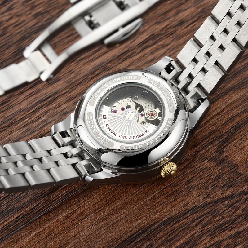 2018 Carnival Tourbillon Automatic Mechanical Brand Watch Waterproof Women Leather Strap Watches Luxury Full Steel Relogio Clock enlarge
