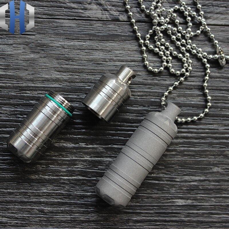 قلادة الفول السوداني من سبائك التيتانيوم ، صندوق دواء مقاوم للماء ، كبسولة مع سلسلة