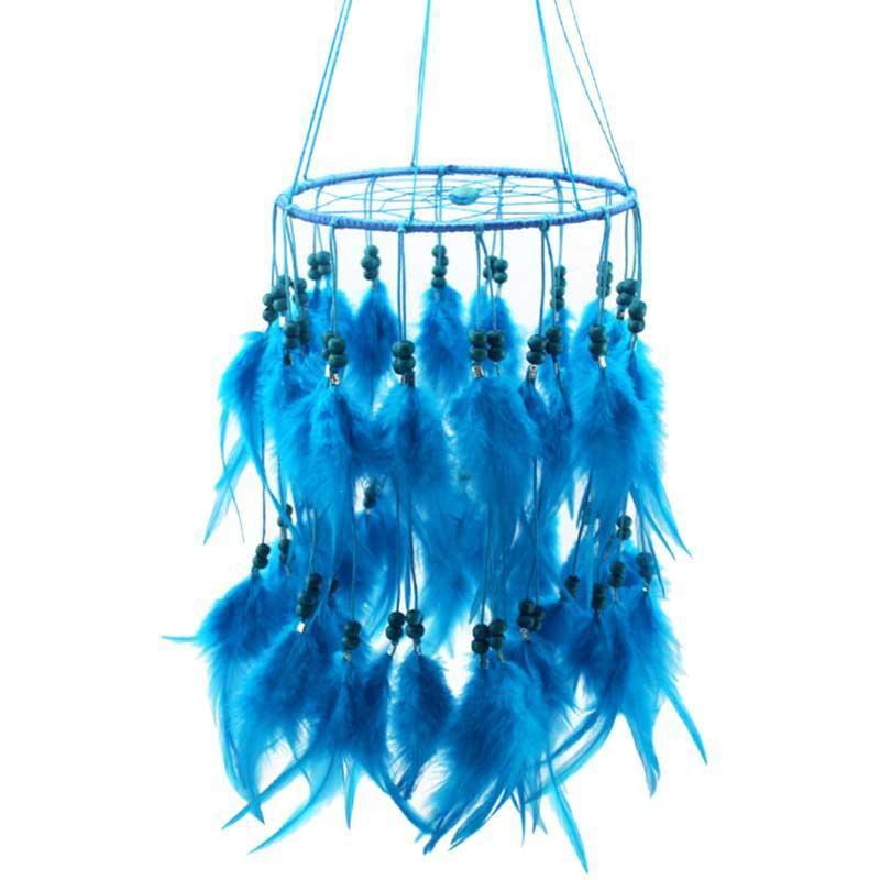 Nueva moda original colgante pluma perlado atrapasueños campanas de viento estilo indio colgante atrapasueños regalo Skyblue