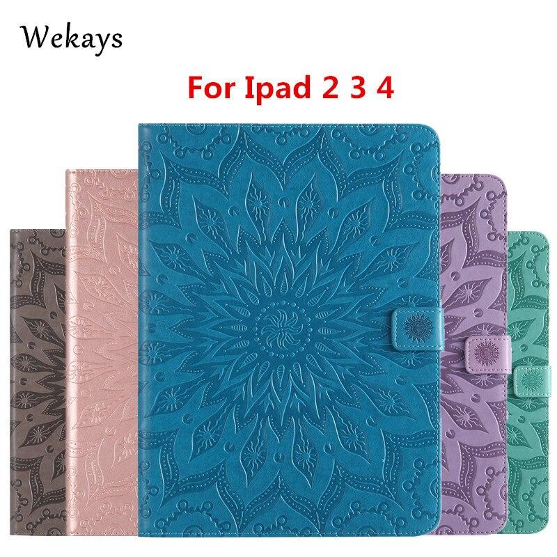 Wekays Para Apple IPad 2 3 4 Sun Flower Leather Flip Inteligente Fundas caso Para Coque IPad 2 3 4 IPad2 IPad3 IPad4 Tablet Casos de Cobertura de