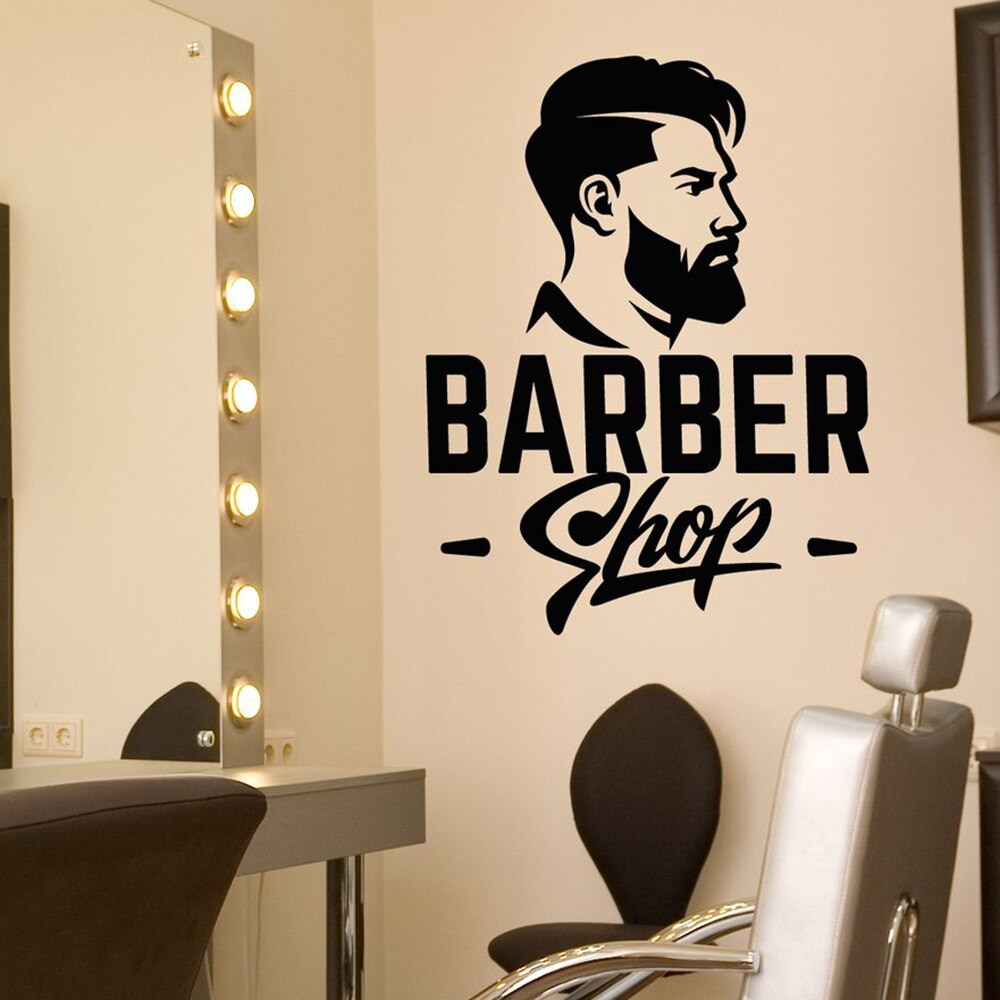 Vinilo para salón de peluquería, calcomanía de pared, Logo de barbería, letrero, pegatinas de corte de pelo para hombres, tienda extraíble, letrero de ventana para barbería N63