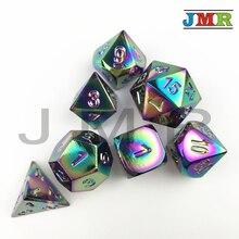 Haute qualité polyèdre arc-en-ciel couleur 7-jeu de matrices Dados métal pour Rpg dés, ensemble de D4 D8 D10 D10 % D12 D20 mdn dés avec boîte de fer