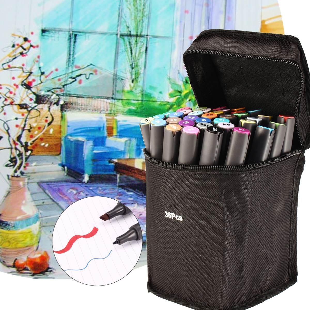 Rotulador de Arte de doble punta con base de Alcohol en 36 colores, pincel de doble cabeza con bolsa