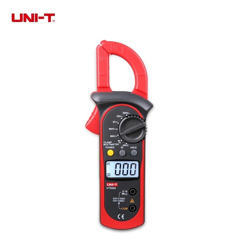UNI-T UT200A LCD Digital Clamp Meter AC Current AC/DC Voltage Resistance Tester Backlight Ohm DMM DC AC Voltmeter AC Ammeter
