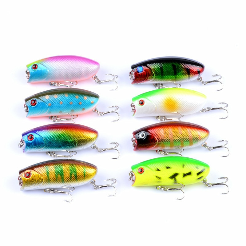 8 шт./лот воблеры Popper, приманка для морской рыбалки, 6 см/10,4 г, кренкбейт, искусственные жесткие приманки, 3D глаза, рыба, рыба, для ловли щуки