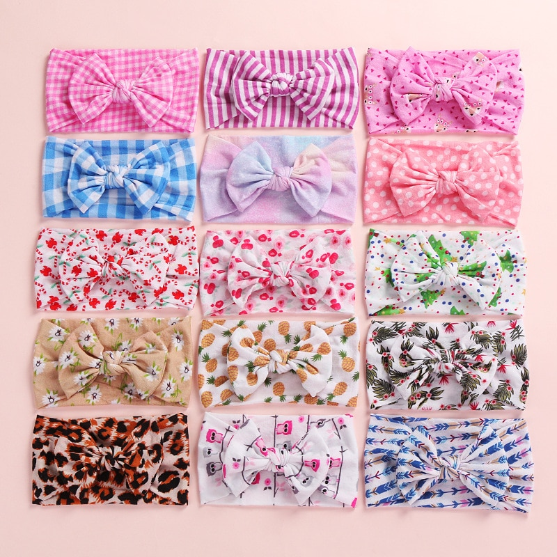 Bulk 120pc/lot Christmas Tree Print Soft Nylon Headbands,Christmas Floral Print Hair Bow Headband,Children Girls Headwear