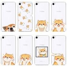 Caso de Telefone Silicone macio Para Meizu 16th 16 x Lite 16 15 Plus Shiba Inu Cão Bonito Tampa Traseira Para caso Meizu Pro 6 7 Plus U10 U20