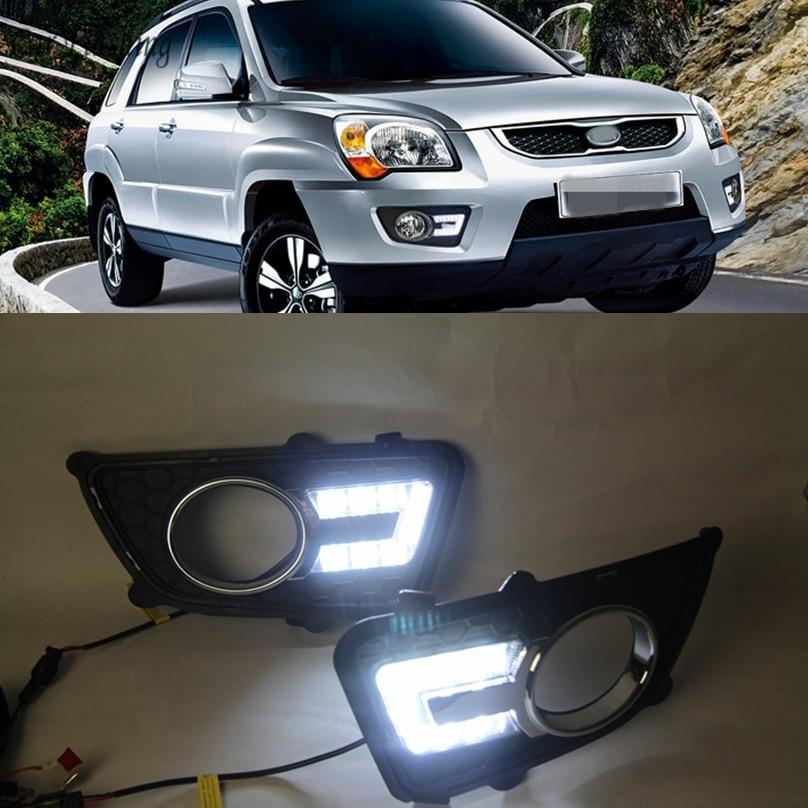 Автомобильный мигающий 1 Набор для KIA Sportage 2008 2009 2010 2011 2012 2013 12 в светодиодный дневный ходовой светильник дневный светильник противотуманная фара головного света светильник