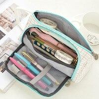 Kawaii Large Capacity pencil case Portable Lovely Linen cloth pencil bag Pencils Pouch School Pen Box Stationery penalty 3035