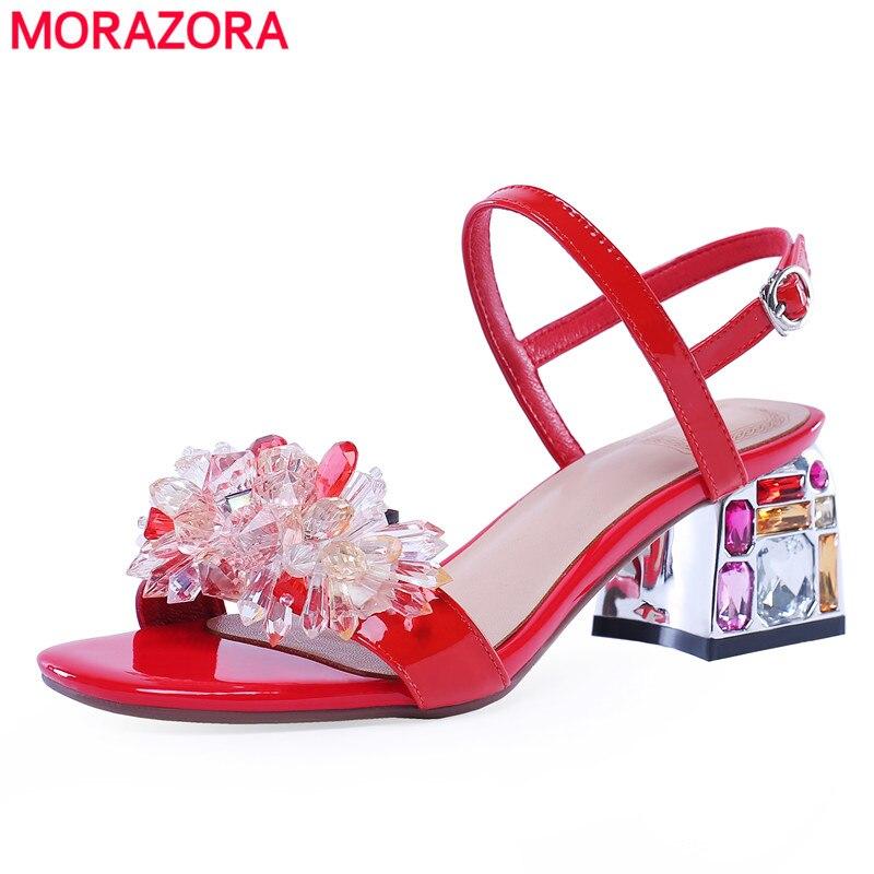 MORAZORA 2020 sandalias de cuero genuino zapatos de mujer hebilla cuadrada cristal tacones altos fiesta boda zapatos verano diamantes de imitación