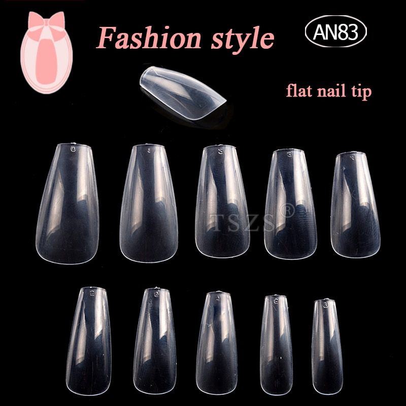 1 bolsas/lote 500 Uds 10 tamaño de forma plana ABS uñas postizas acrílicas falsas cubierta completa ataúd uñas transparentes