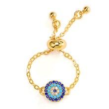 KOFSAC nouveau populaire bleu Zircon anneaux pour les femmes bijoux de fiançailles oeil de dinde or chaîne réglable anneau femelle accessoires cadeaux