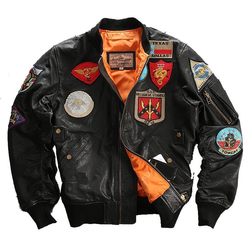 2016 Мужская черная кожаная куртка-пилота, куртка из натуральной овчины большого размера XXXL, мужская зимняя куртка в стиле милитари, русская к...