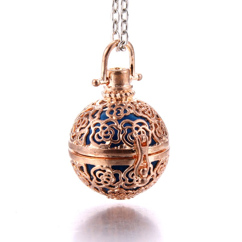 Collar difusor de Aroma, medallones dorados antiguos abiertos, perfume de pendiente, aceite esencial, aromaterapia, COLLAR COLGANTE, jaula de perlas