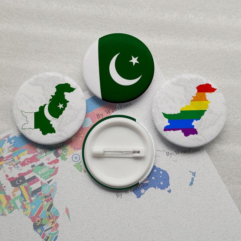 PIN de botón de estaño de la bandera de Pakistán LGBT Gay Arco Iris Pride botón insignias