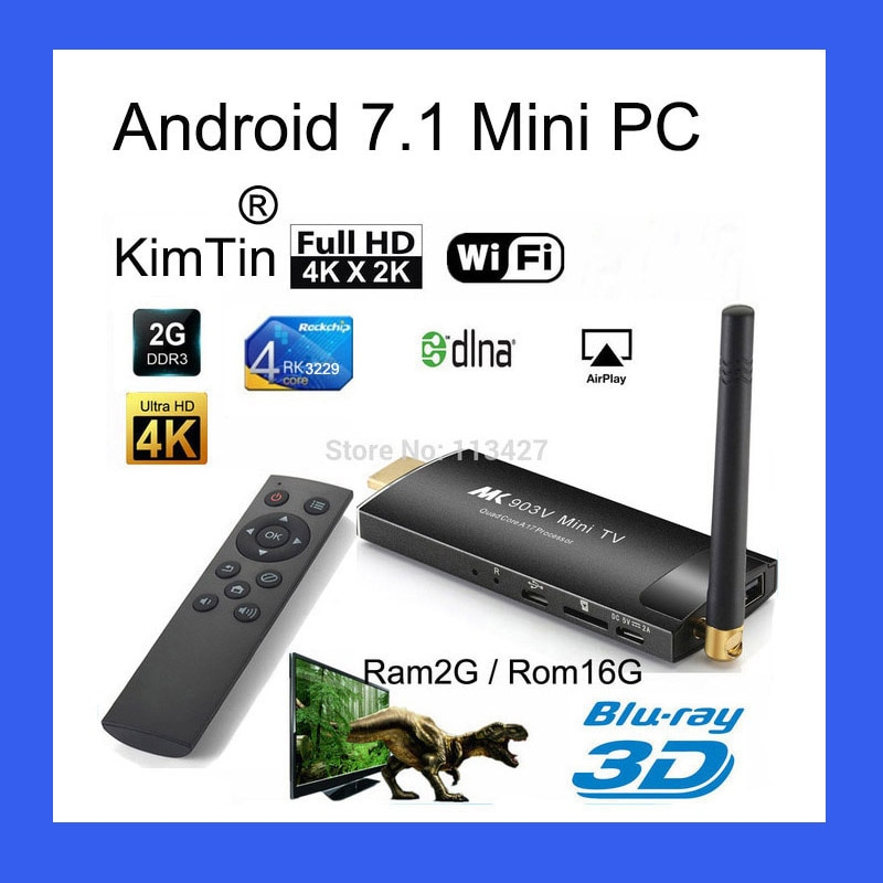 KimTin MK903C אנדרואיד טלוויזיה מקל RK3229 Quad Core 2GB 16GB OS 7.1 4K Wifi הטלוויזיה Dongle Miracast טלוויזיה החכם מירה מסך מיני מחשב