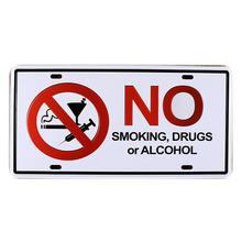 Interdiction de fumer drogue ou alcool voiture plaque dimmatriculation Vintage étain signe Bar Pub maison café mur décor rétro métal Art affiche Mix ordre A434