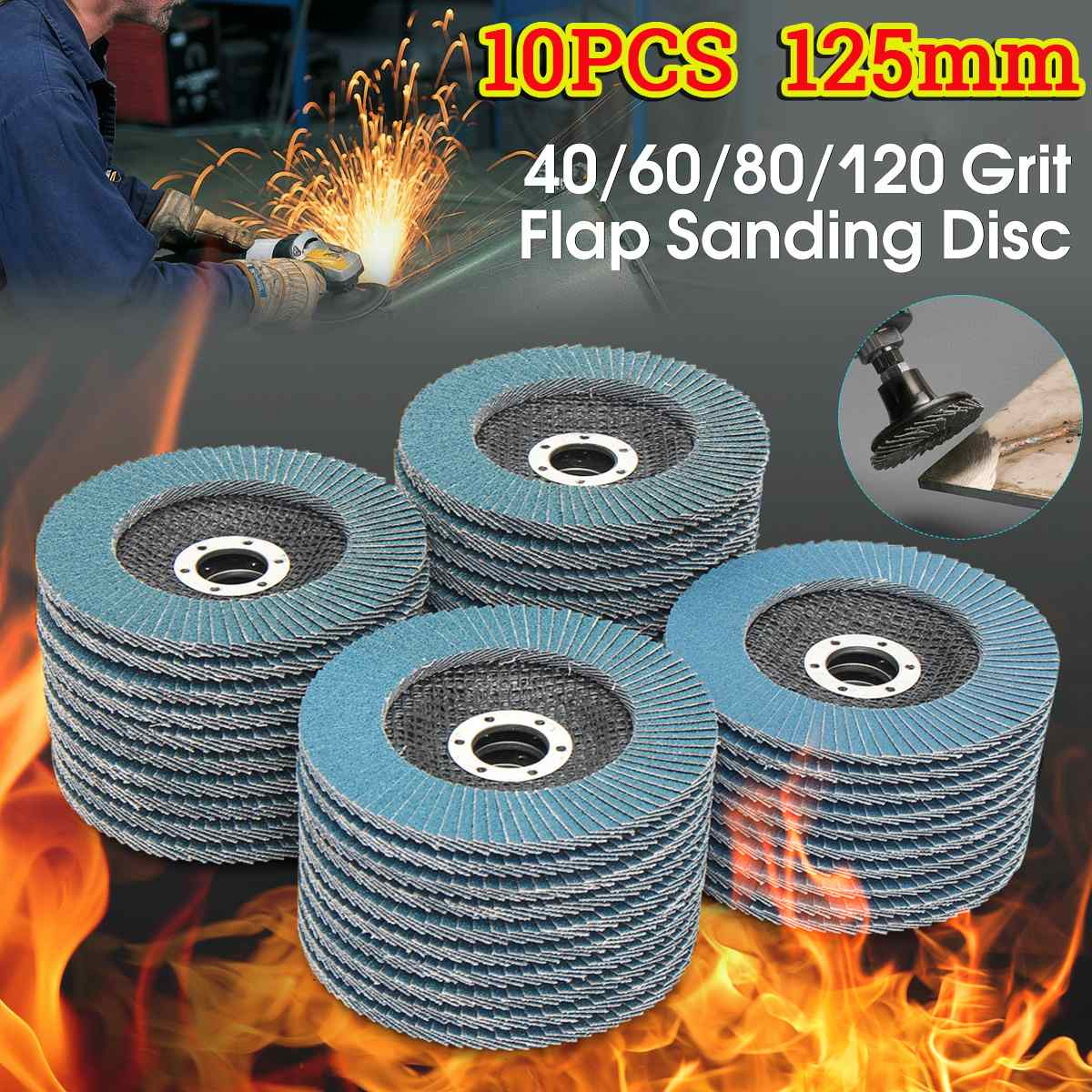 10pcs 125mm dischi lamellari professionali dischi abrasivi da 5 pollici grana 40/60/80/120, lame per mole per smerigliatrice angolare