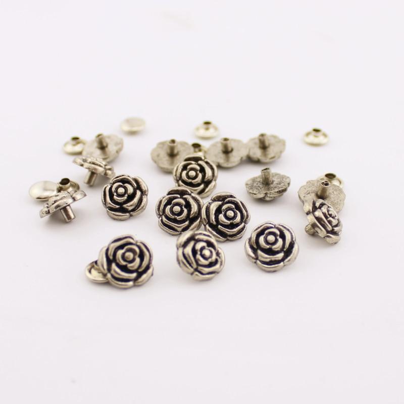 20 set/lote 1,5*1,5 cm remache rosa de bronce plateado con espiga de esqueleto de latón tachuelas de moda accesorio de artesanía de cuero remaches de ropa
