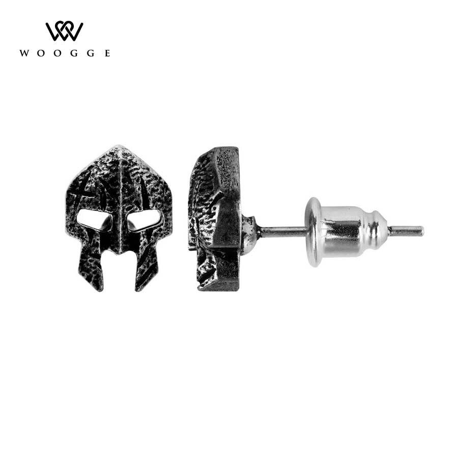 Pendientes para Mujer de Moda 2018, joyería de Moda Punk de plata antigua, casco de guerrero Esparta, máscara vikinga, Pendientes de tuerca para Mujer