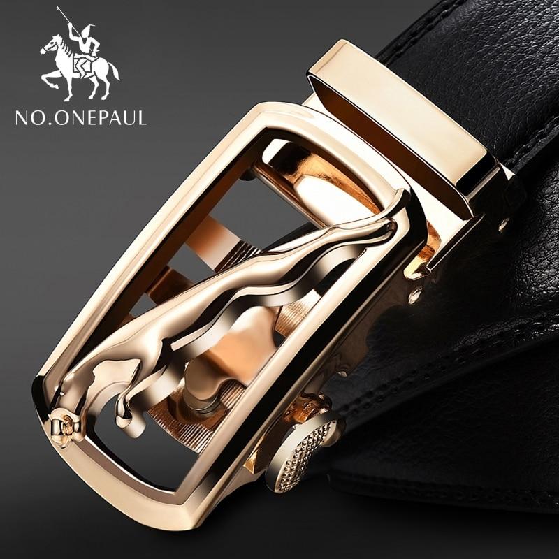 Cinturones a la moda NO. ONEPAUL para hombres, cinturones con hebilla de aleación, nuevo cinturón de cuero vacuno para hombres de cuero genuino de vaca para hebilla automática masculina
