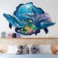 Autocollants muraux de fenetre 3d  dauphin de poisson sous-marin vif  autocollants muraux de salle de bains  salon chambre a coucher  affiche de decoration de maison