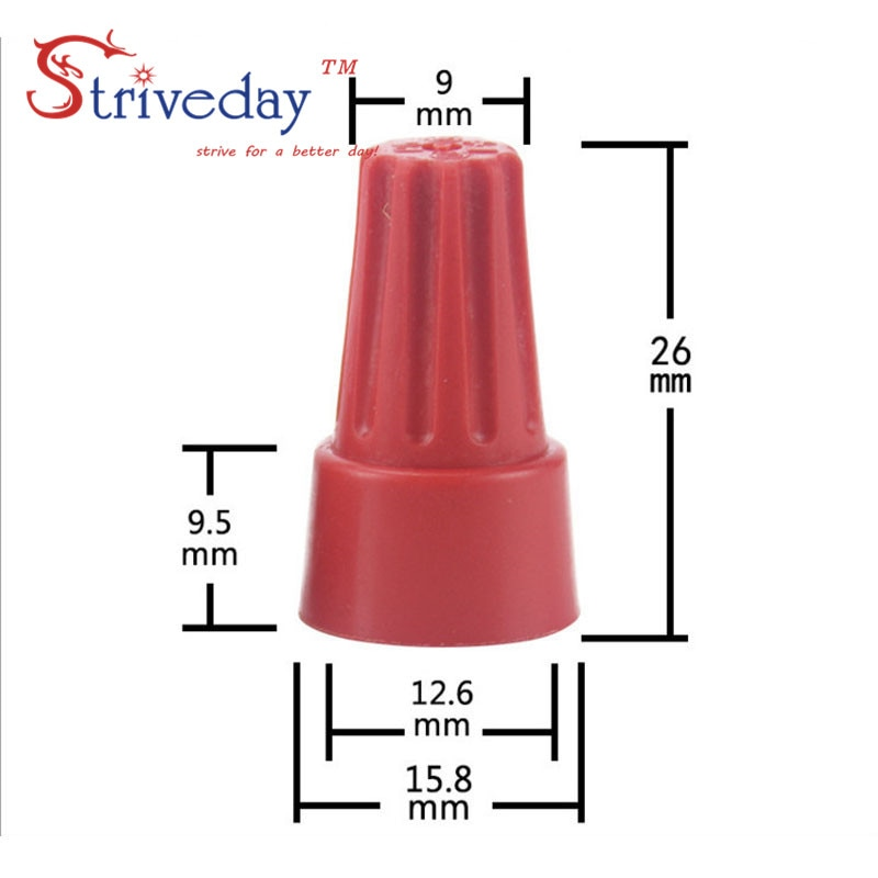 100 unids/bolsa nueva rotación prensa terminal de P6 resorte helicoidal tipo tapa Terminal rojo color bloque de terminales de tornillo conector