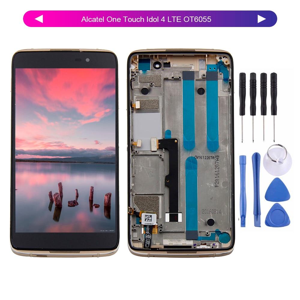 "Para 5,2 ""Alcatel One Touch Idol 4 LTE OT6055 6055P 6055Y 6055B 6055K 6055 LCD pantalla digitalizador de montaje de pantalla táctil + marco"
