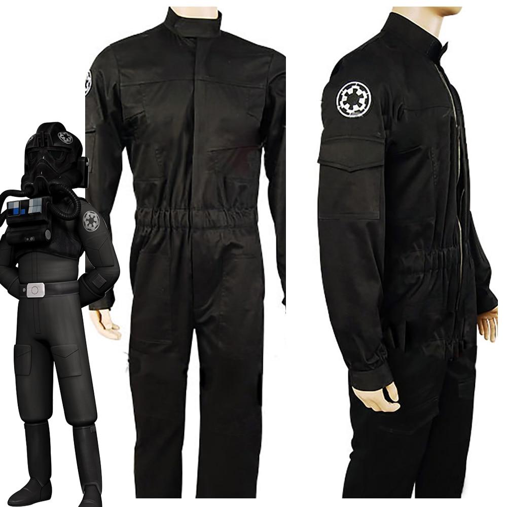 Костюм летчика-бойца для взрослых, костюм черного цвета для косплея