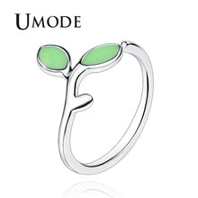 Женские кольца с зеленым камнем UMODE, белые и золотые ювелирные изделия с открытым манжетом, Anillos Mujer Moda AUR0436