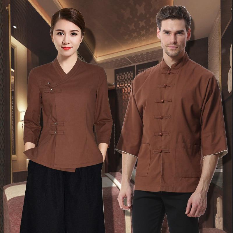 Recién llegados tres cuartos de manga café marrón blusa + Pantalones de pierna ancha 2 uds conjunto para hombre SPA uniforme Hotel Retro Ropa de Trabajo conjuntos de belleza