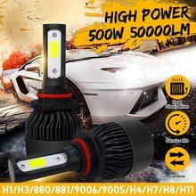Bubls-Mini phare 500W 50000LM   2 pièces, Kit pour ampoule haute/faisceau, antibrouillard 6000K blanc H7 H8 H11 H1 H3 880 881 H4