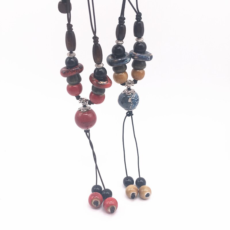 Fashion Ceramics Beads Pendant Bohemia Style Long Sweater Chain Necklace Handmade Braided Jingdezhen Ceramic Jewelry Necklace #D