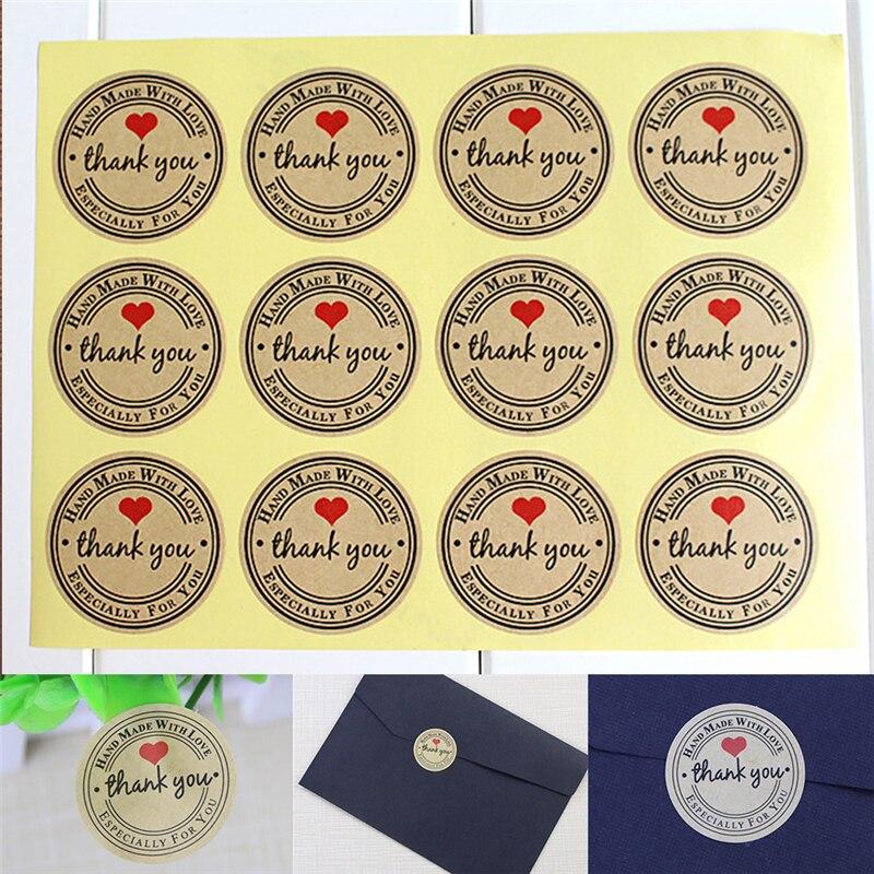 60/120/12 etiquetas de papel dos doces dos pces/obrigado você ama etiquetas autoadesivas da etiqueta de kraft para o bolo feito à mão do presente das caixas de doces diy