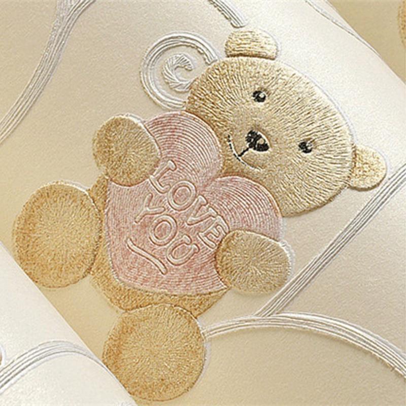 حماية البيئة الكرتون لطيف الدب غير خلفية قماش ثلاثية الأبعاد ستيريو تنقش الفتيان والفتيات غرفة الأطفال ورق حائط لفة