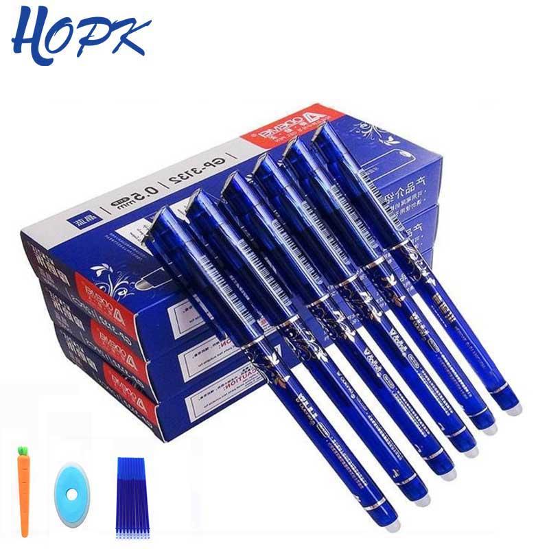 12/20 unids/set bolígrafo de Gel 0,5mm mango lavable borrable bolígrafo borrable recargable barra de tinta azul y negra escuela papelería oficina herramienta de escritura