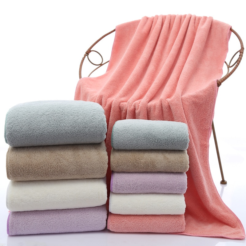 Coral velvet Towel set 1 beach towel and 1 face towel 140*70cm+35*75cm  bath towels for adults  Square  Quick-Dry