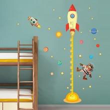 Diy weltraum Planeten Affe Pilot Rakete abziehbild höhe messen wandaufkleber für kinderzimmer baby kindergarten wachstum chart geschenke