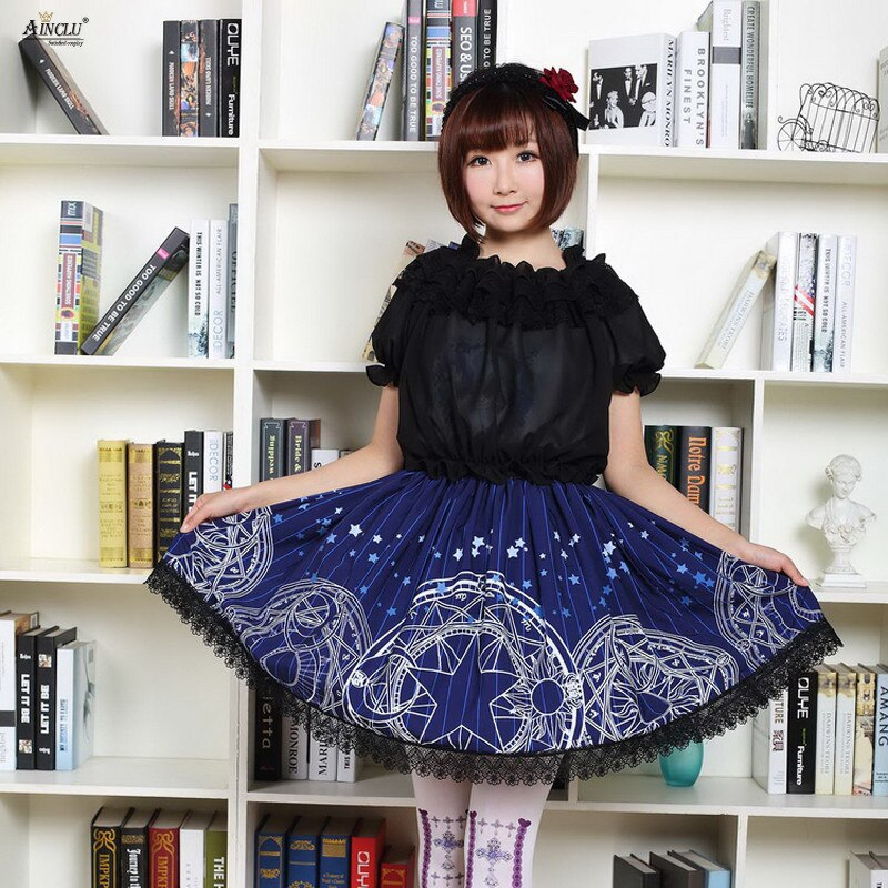 2018 Lolita Lace Skirts Womens Magic Card Japanese Style Sakura Blue Gothic Star Month Magic Printed Lolita Pleated Party Skirts
