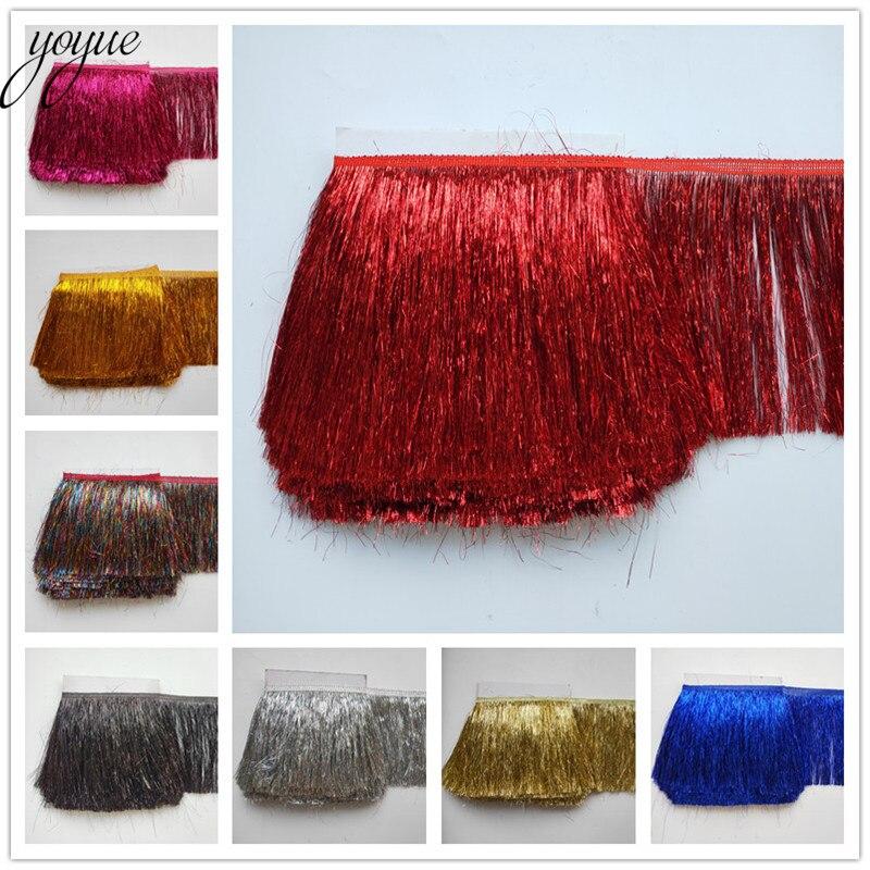 Yoyue 5 jardas/lote 20 cm longo laço franja guarnição plástico borla franja aparar diy vestido latino roupas acessórios laço fita