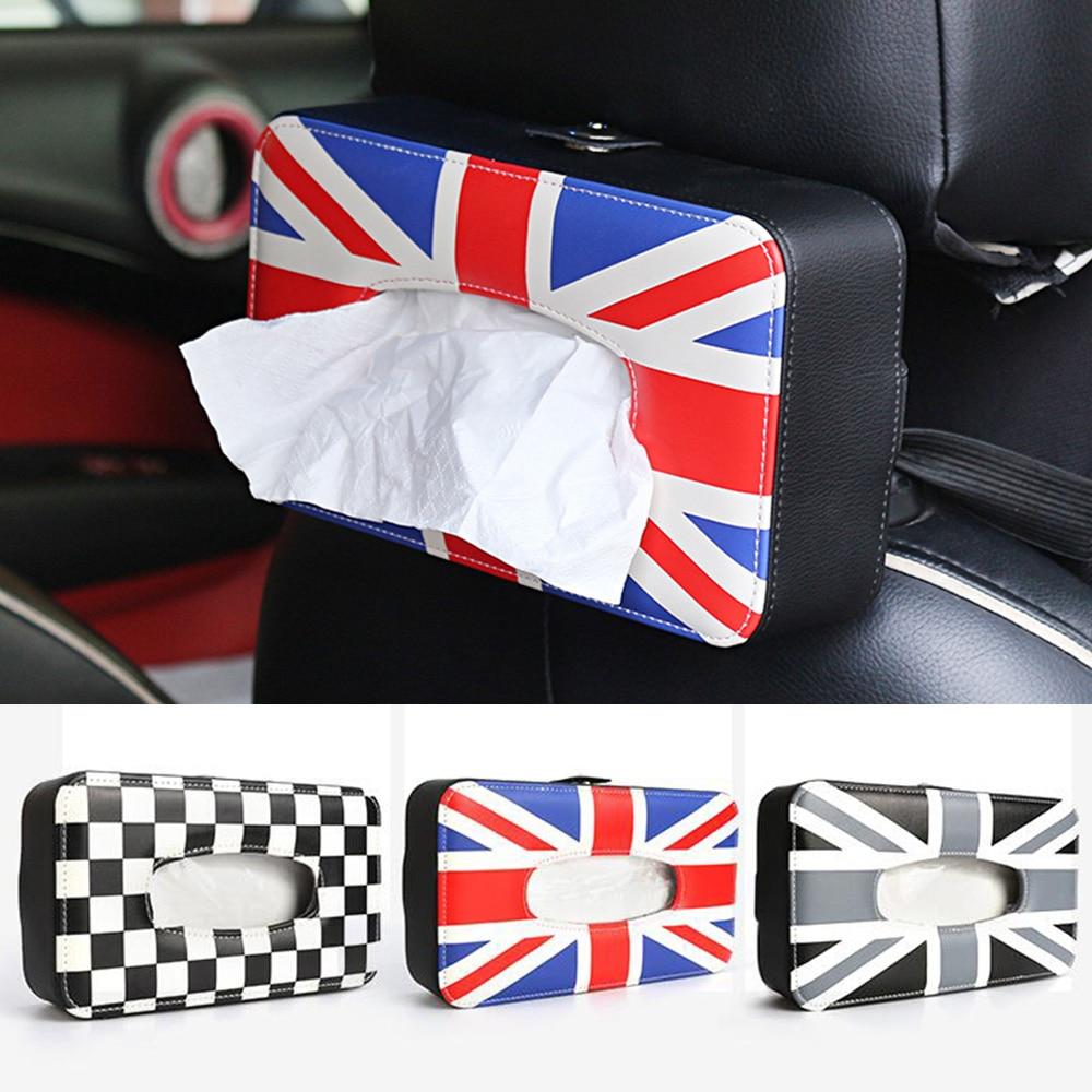 PU Union Jack Car Seat Neck Back Tissue Box Holder Napkin Box for Mini Cooper JCW One S R55 R56 R60 R61 F55 F56 F60 Car Styling