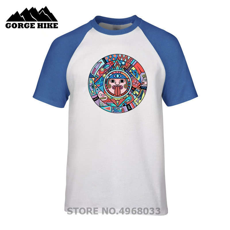 Camiseta Popular para hombre calendario azteca Cool Artsy Tee verano o-cuello de manga corta Camiseta Casual colorido de talla grande camiseta Harajuku