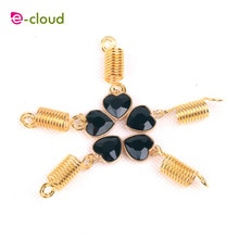 Gold metal spring tube ring dreadlock beads for braids hair beads for dreadlocks adjustable hair braid cuff clips