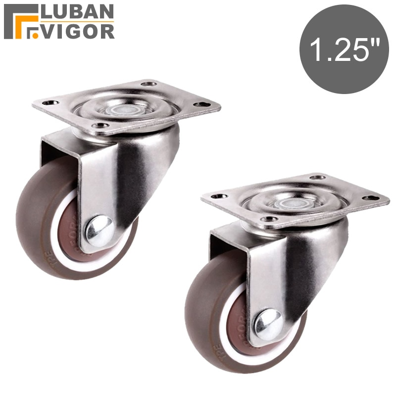 Мини Маленькие ролики/мебельные колеса диаметром 1,25 дюйма/32 мм, TPE резина, супер бесшумные колеса, для книжных ящиков, цветочных стеллажей