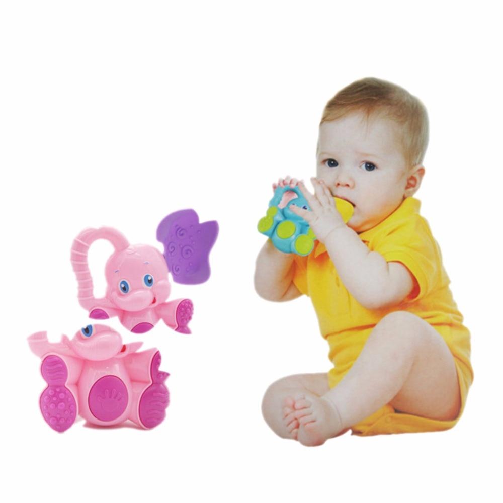 Funny Elephant Rattles Animal Plastic Hand Jingle Shaking Bell Toddler Educational Musical Kids Baby Toys for Children Dropship
