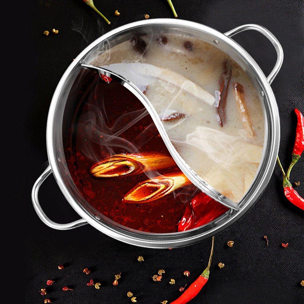 ABEDOE 1pc olla de cocina de acero inoxidable de una sola capa de olla de cocción 30cm de oído doble Pato Mandarín Fondue olla caliente olla de cocina