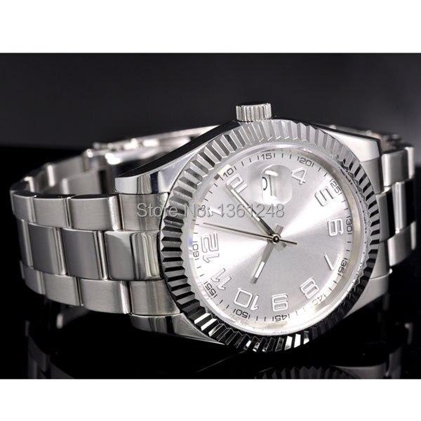 40mm parnis branco dial vintage movimento automático relógio masculino p25