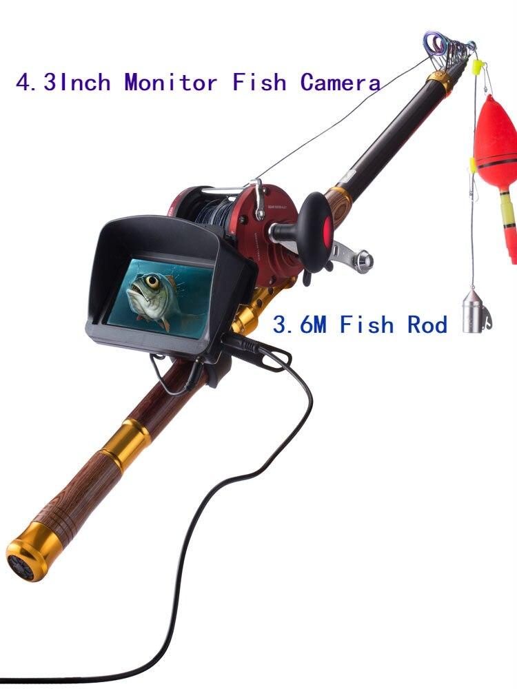 Cámara de peces PDDHKK de 4,3 pulgadas, caña de pescar de 3,6 M, buscador de peces bajo el agua, lente de Resolución de 8 MP, Cable de 30 M, cámara de video de pesca, pez de mar helado