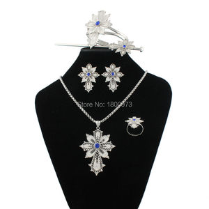 Newest Ethiopian Cross Necklace/Pendant/Bangle/Earring/Ring/Hairpin Silver Plated Habesha Jewelry Sets African Christmas Gift